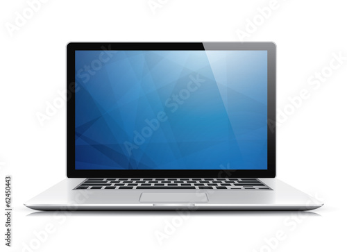 Laptop vector with blue abstract wallpaper isolated on white