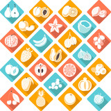 Fruits and berries icons in flat style