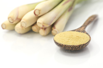 lemon grass on a wooden spoon