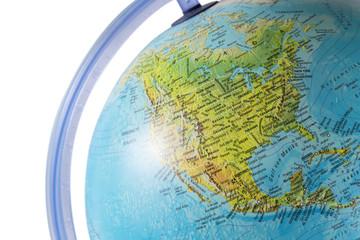 North America on a globe