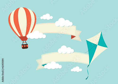 Banners with Kite and Hot Air Balloon
