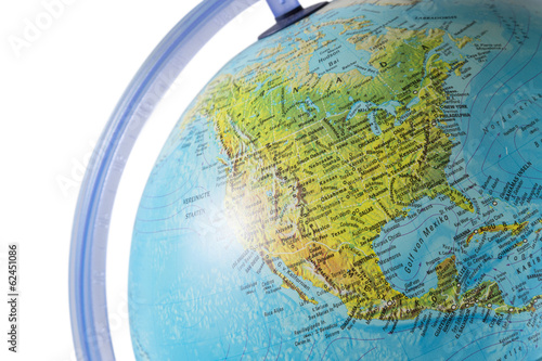 North America on a globe