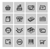 vector black shopping icons set