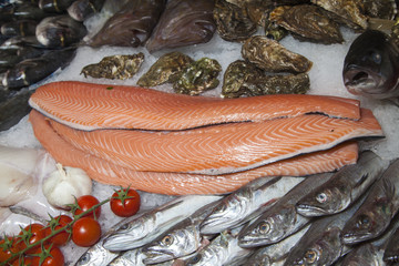 Fresh fish and fruits of the sea on fishmarket