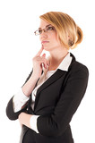 pensive business woman isolated on white background