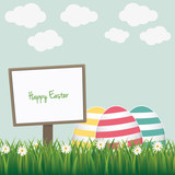 happy easter sign colorful eggs daisy meadow