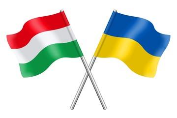 Flags : Hungary and Ukraine
