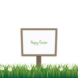 happy easter sign board daisy meadow isolated