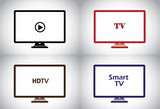 colorful flat, lcd, hd, smart plasma tv television icon set