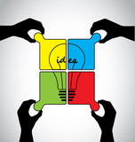 teamwork idea jigsaw puzzle human hands working together concept