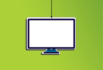 hanging paper digital tv television computer monitor icon
