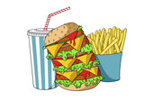 Hamburger with soda and french fries