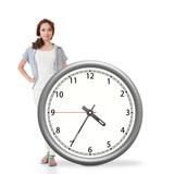 Asian woman push a clock