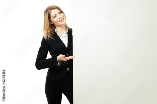 Business woman showing blank signboard isolated