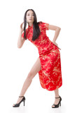 Sexy Chinese woman dress traditional cheongsam