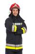 Leinwanddruck Bild - Portrait of smiling fireman.