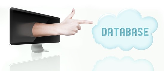 Database cloud computing. Pointing finger from screen