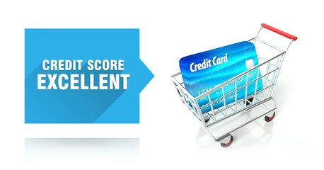 Credit score excellent, with shopping cart