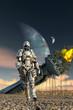 sci-fi alien scene 3d illustrated - 62454677