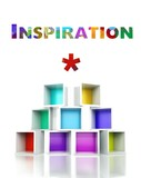 Inspiration concept. colorful 3d design illustration