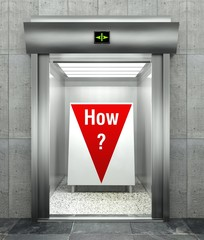 How business question. Elevator with red down arrow