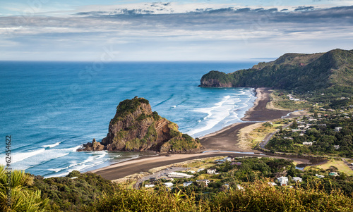 Aerial view  of Piha Beach and Lion Rock