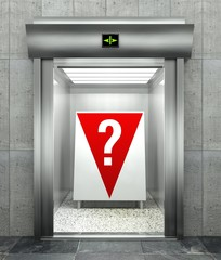 Question mark. Modern elevator with red down arrow