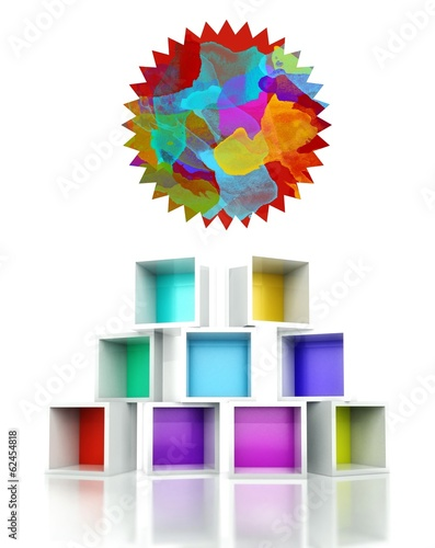 Paint label star colorful 3d design illustration