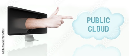 Public cloud computing. Finger from screen