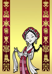 funny Tibetan girl/illustration with auspicious symbols
