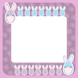 Dark pink frame with Easter rabbits