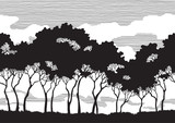 Vector pattern seamless  background of Trees silhouettes - 62455268