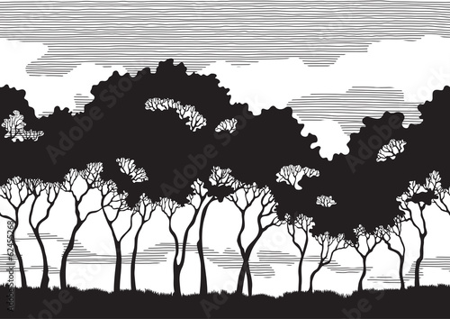 Vector pattern seamless  background of Trees silhouettes