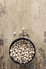 Chick pea on rustic wooden background