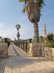 Bridge of desires and view of Catholic church. Yaffo, Israel