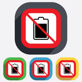 No Battery level sign icon. Electricity symbol.