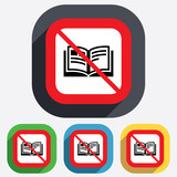 No Book sign icon. Open book symbol.