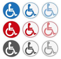 Schwerbehindertensymbole rund, Buttons