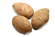 Three Whole Potatoes Isolated Over White