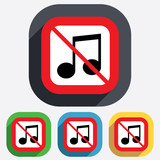 No Music note sign icon. Musical symbol.