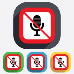 No Microphone icon. Speaker symbol. Live music.