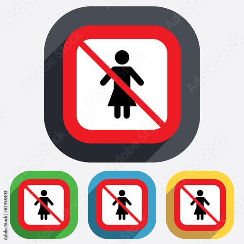 No Female sign icon. Woman human symbol.
