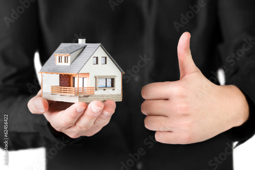 House in man's hand.