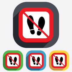 Do not stay. Imprint shoes sign icon. Shoe print
