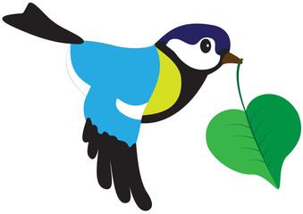 Bird with a leaf