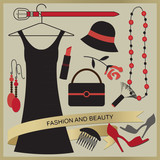 Vintage poster with fashion and beauty objects