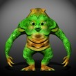 Green Ugly Monster Cartoon 3D