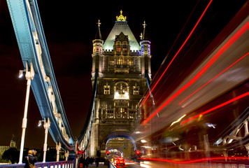 Tower Bridge with Red Bus lights