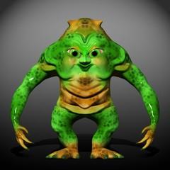Green Ugly Monster Cartoon 3D