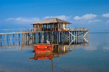 A typical lagoon house of the doirani area Greece